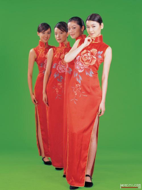 高档女装_红色绣花礼仪旗袍 - 倾城网