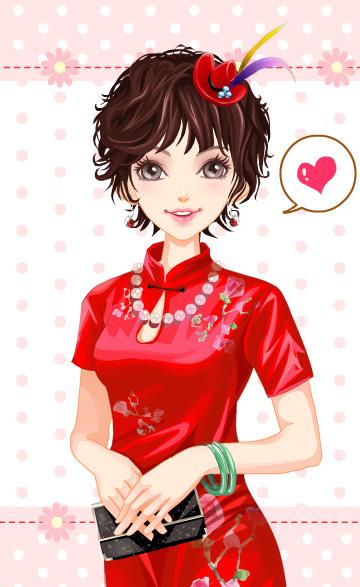 qq卡通旗袍的中国风情(2)图片