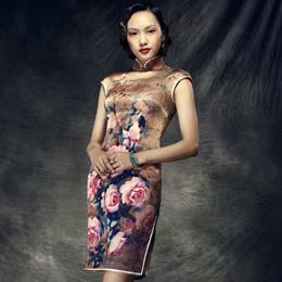 红馆夏季时尚短旗袍:浣沙溪
