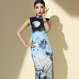 秀观唐典雅气质旗袍:花好月圆
