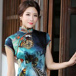 秀观唐时尚印花旗袍:花蝶