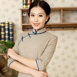 逸福民国风格子旗袍