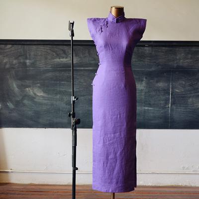 茉茉| 鸢尾玄凤 平肩小连袖中长款复古纯色亚麻旗袍