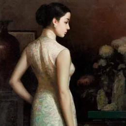 油画里的旗袍美女