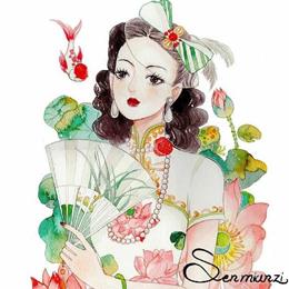 水彩画:有气质的你,穿上旗袍装会更美,人见人爱!敢挑战吗?